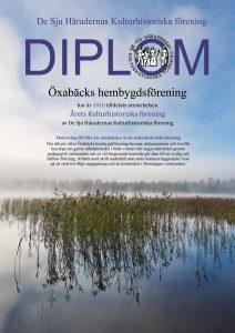 Diplom Öxabäcks Hembygdsförening 2016
