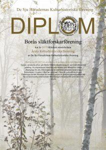 Diplom utfärdat till Borås Släktforskarförening. Foto Jan Töve